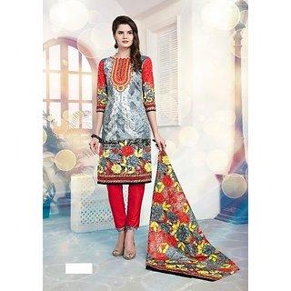 Al Safina Karachi Cotton Printed red and multi color Un-Stiched Salwar Suit Dupatta Dress (Unstitched)