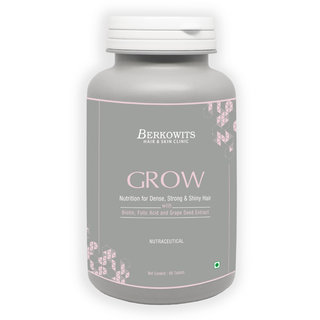 Berkowits GROW Nutrition For Strong Shiny Hair with Biotin Folic Acid Grape Seed Extracts