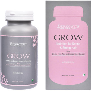 Berkowits GROW Nutrition For Strong  Shiny Hair with Biotin, Folic Acid  Grape Seed Extracts