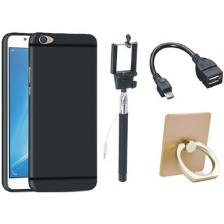 Redmi Note 4 Silicon Slim Fit Back Cover with Ring Stand Holder, Selfie Stick and OTG Cable