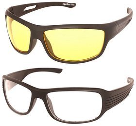 SNR Pack of 2 Day Night Vision Riding glasses (White+Yellow)