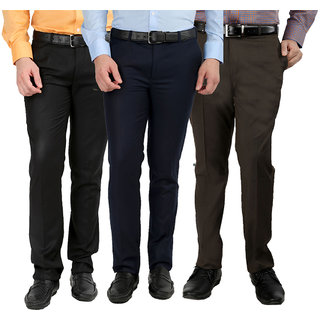 GWALIOR PACK OF 3 FORMAL TROUSERS (BLACK, BLUE  BROWN)