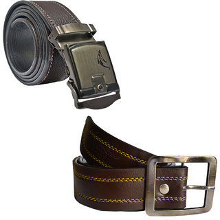 Sunshopping mens brown leatherite needle pin point buckle belt (combo)