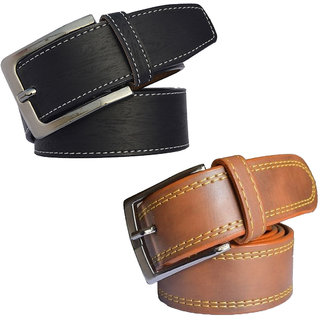 Sunshopping mens black and tan leatherite needle pin point buckle belt (combo) (Synthetic leather/Rexine)