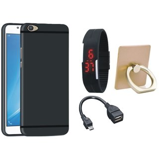 Redmi A1 Soft Silicon Slim Fit Back Cover with Ring Stand Holder, Digital Watch and OTG Cable