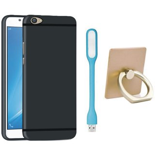 Redmi A1 Soft Silicon Slim Fit Back Cover with Ring Stand Holder, USB LED Light