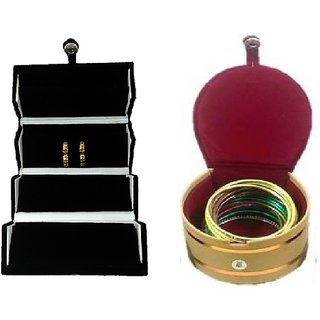 ADWITIYA Combo-Black Earring Tops Studs Case and Red Bangle Jewelry Storage Organizer Travel Friendly Gift Box