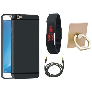 Redmi 4A Silicon Slim Fit Back Cover with Ring Stand Holder, Digital Watch and AUX Cable
