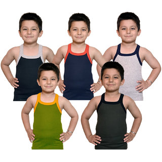 8663ec3f3fb5e2 Buy Kids Basket s Boy Kids Multicolor RIB Cotton Sleeveless Vest Pack Of 5  Innerwear Online - Get 57% Off