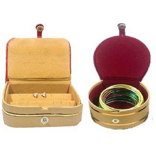 ADWITIYA Combo - Rust Earring Tops Studs Box and Red Bangle Jewelry Storage Organizer Travel Friendly Gift Case