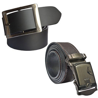 Sunshopping Mens Black & Brown Leatherite Pin-Hole Buckle Belt (Combo) (Synthetic leather/Rexine)