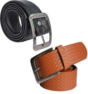 Sunshopping mens black and tan leatherite needle pin point buckle belt  (combo)