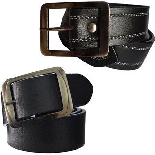 Sunshopping mens black leatherite needle pin point buckle belt  (combo) (Synthetic leather/Rexine)
