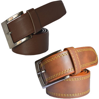 Sunshopping Mens Brown & Tan Leatherite Pin-Hole Buckle Belt (Combo) (Synthetic leather/Rexine)