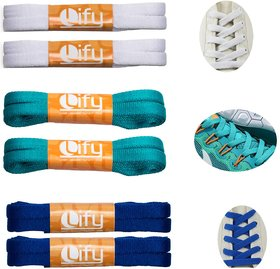 Lify Flat Shoelaces - 8MM (5/16 Inch) Wide - Shoe Laces For All types of Shoes  Sneakers- White (2 Pair), Ocean Blue   (2 Pair)   Royal Blue (2 Pair)  -  90CM ( 35.43'' Inch)- 6 Pair Pack