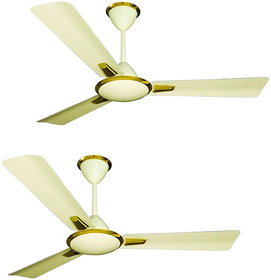 HomeKrafts Solaris 48 (1200mm) 3 Aluminium Blades, Aluminium Body, Copper Winded Motor, Energy Saving Premium Ceiling Fan - Broken Golden - Pack of 2