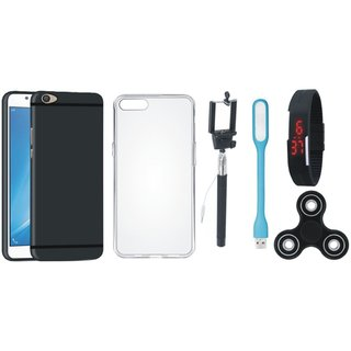 Motorola Samsung J7 2016 SM-J710 Plus Silicon Anti Slip Back Cover with Spinner, Silicon Back Cover, Selfie Stick, Digtal Watch and USB LED Light