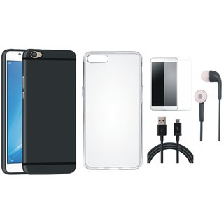 Vivo Y55 Silicon Anti Slip Back Cover with Silicon Back Cover, Earphones, Tempered Glass and USB Cable