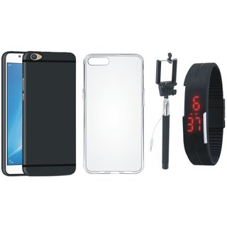 Vivo Y55 Silicon Anti Slip Back Cover with Silicon Back Cover, Selfie Stick and Digtal Watch