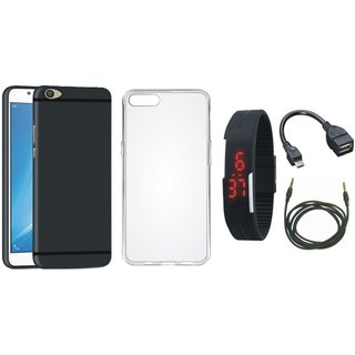 Vivo Y55 Cover with Silicon Back Cover, Digital Watch, OTG Cable and AUX Cable