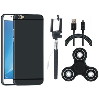 Samsung C9 Pro Silicon Anti Slip Back Cover with Spinner, Selfie Stick and USB Cable