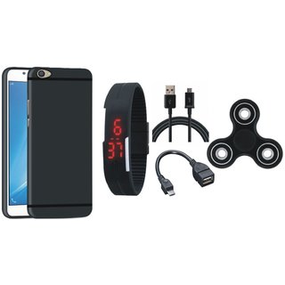 Samsung C9 Pro Back Cover with Spinner, Digital Watch, OTG Cable and USB Cable