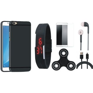 OnePlus 5 Silicon Anti Slip Back Cover with Free Spinner, Digital LED Watch, Tempered Glass, Earphones and USB Cable