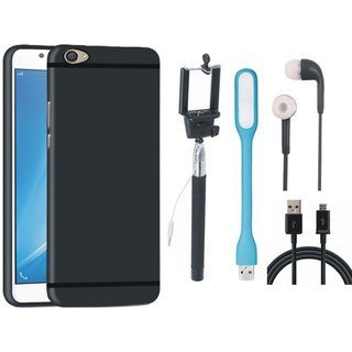 Motorola Moto E4 Stylish Back Cover with Selfie Stick, Earphones, USB LED Light and USB Cable