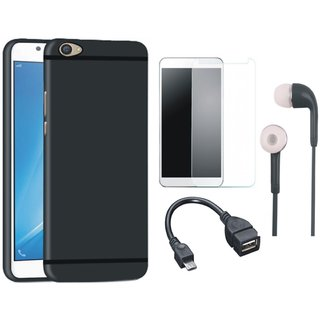 Motorola Moto E4 Silicon Anti Slip Back Cover with Tempered Glass, Earphones and OTG Cable