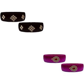 Handmade Silk Thread Black and Magenta Bangles Combo Set 3