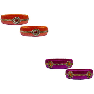 Handmade Silk Thread Orange and Magenta Bangles Combo Set 01