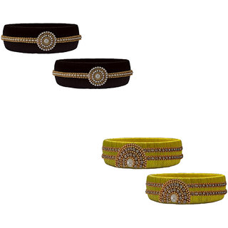 Handmade Silk Thread Black and Yellow Bangles Combo Set 3