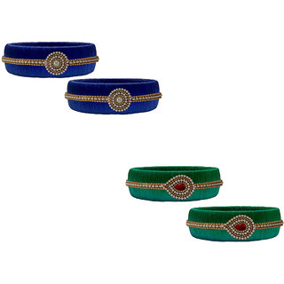 Handmade Silk Thread Blue and Peacock  and Green Bangles Combo Set