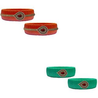 Handmade Silk Thread Orange and Turquoise Bangles Combo Set
