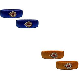 Handmade Silk Thread Navy Blue and Metalic Copper Colour Bangles Combo Set 03