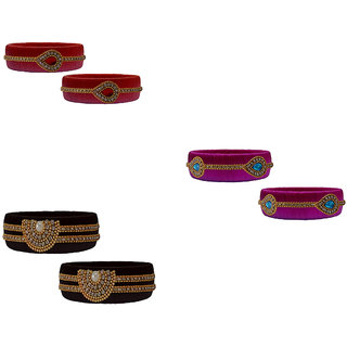 Handmade Silk Thread Black Red Magenta Bangles Set combo