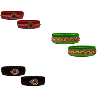 Handmade Silk Thread Red Fluorescent Black Bangles Set combo