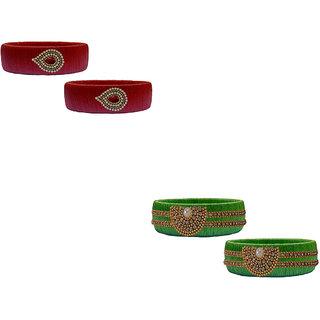 Handmade Silk Thread Red and Green Bangles Combo Set 02
