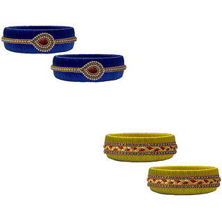 Handmade Silk Thread Yellow and Navy Blue Bangles Combo Set 1