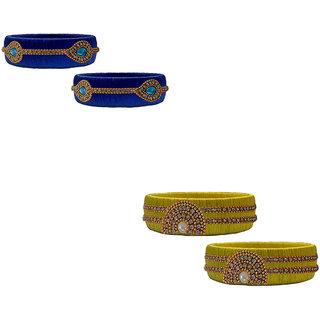 Handmade Silk Thread Yellow and Navy Blue Bangles Combo Set 3