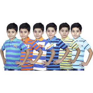 Sbc Exports Limited Desing Plus Regular Casual Relaxed Fit Solid Cotton Polo Tshirt For Boys Kids Pack Of 6