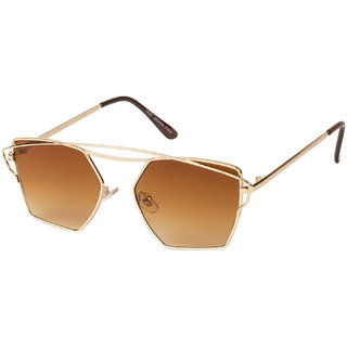 Vespl Brown UV Protection Round Unisex Sunglasses