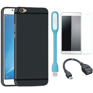 Samsung J7 Prime SM-G610F Ultra Slim Back Cover with Tempered Glass, USB LED Light and OTG Cable