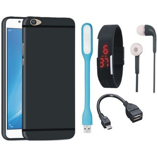 Samsung J7 Prime SM-G610F Ultra Slim Back Cover with Digital Watch, Earphones, USB LED Light and OTG Cable