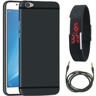 Samsung J7 Prime SM-G610F Stylish Back Cover with Digital Watch and AUX Cable