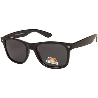 Vespl Black Polarized Wayfarer Unisex Sunglasses