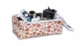 The Intellect Bazaar Waterproof Rexine Cosmetic Pouch Makeup Kits With Zip and 1 Side Pocket , Brown