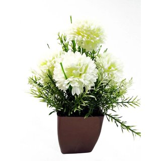 Buy artificial polyester and plastic white mum flower with springers artificial polyester and plastic white mum flower with springers grass with broen squre pot for indoor mightylinksfo