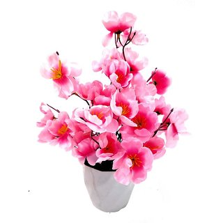 Buy Artificial Polyester And Plastic Light Pink Blossom Flower With