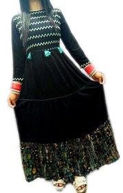 Unlock Fashion Stitched Designer Black Zigzag Pattern on Neck Kurti for Women